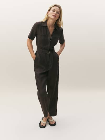 마시모두띠 Massimo Dutti 100% linen short sleeve jumpsuit,Chocolate
