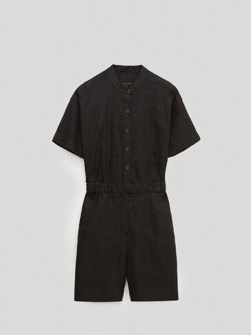 Black 100% linen playsuit