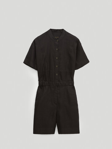 Black 100% linen playsuit