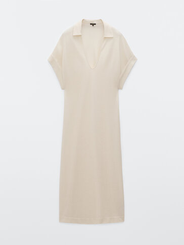 Cotton polo collar dress