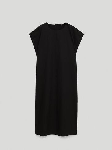 Round neck poplin dress