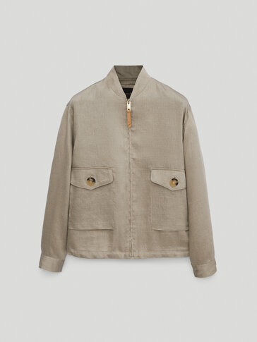 Linen bomber jacket featuring pockets