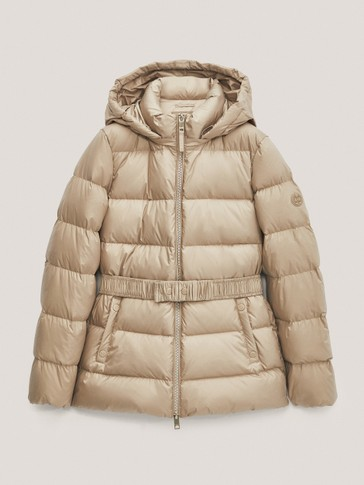 Down puffer jacket with hood
