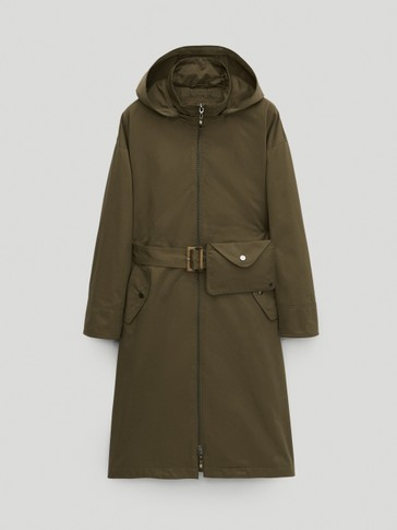 Long parka with pocket