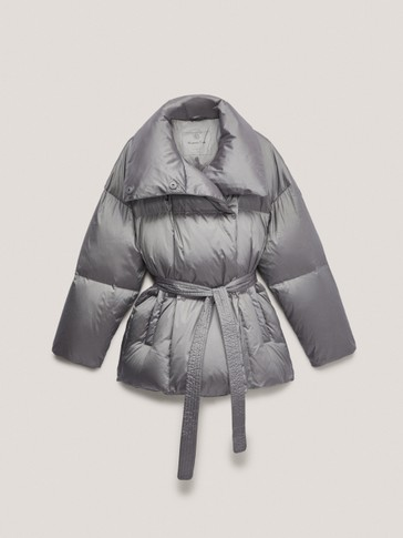 Down puffer jacket with belt