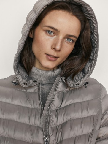 Long hooded jacket with belt