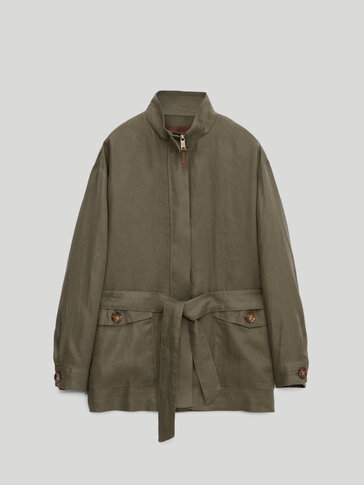 Bomber jacket with pockets in 100% linen