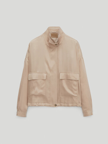 Cropped cupro jacket with pockets
