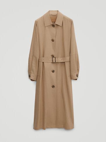 Flowing linen trench coat