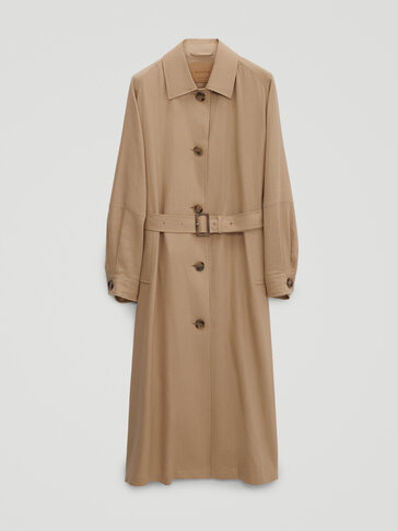 Flowing linen trench coat