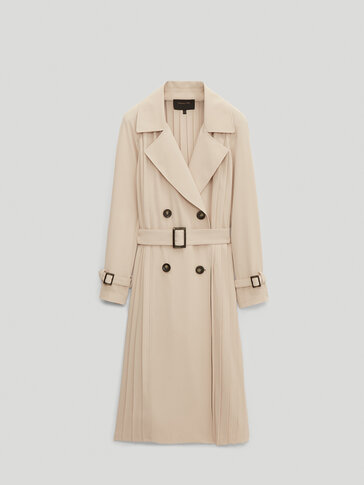 Pleated trench jacket