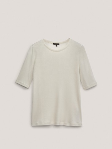 Ribbed round neck T-shirt