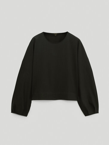 Cropped cotton oversize sweatshirt
