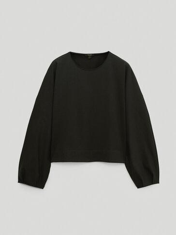 Cropped cotton oversize sweatshirt