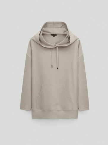 Cotton sweatshirt with pouch pocket