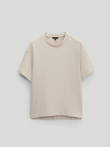 Cotton sweatshirt with short sleeves