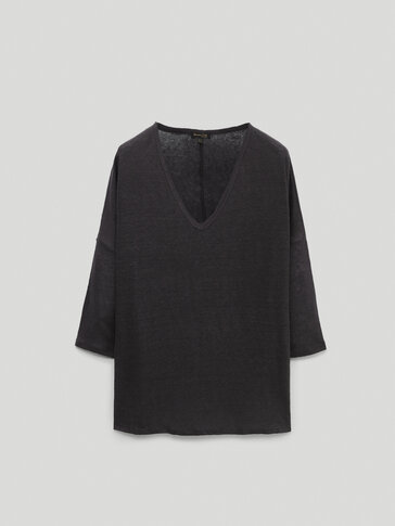 100% linen v-neck long sleeve t-shirt