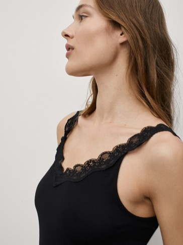 Lace-trimmed ribbed top