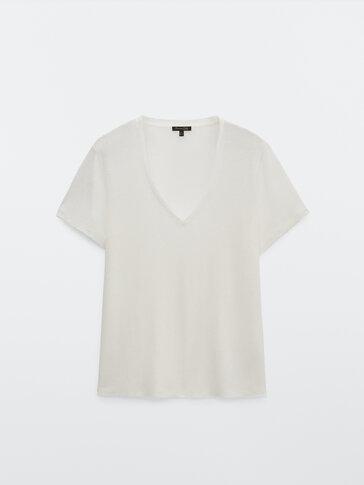 Camiseta cuello pico 100% lino