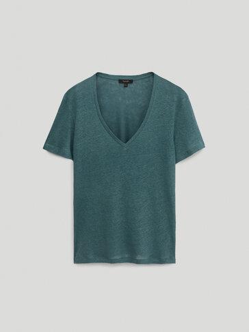 100% linen v-neck t-shirt