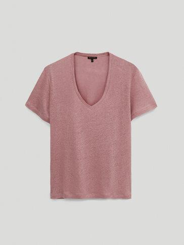 T-shirt com decote em bico 100% linho