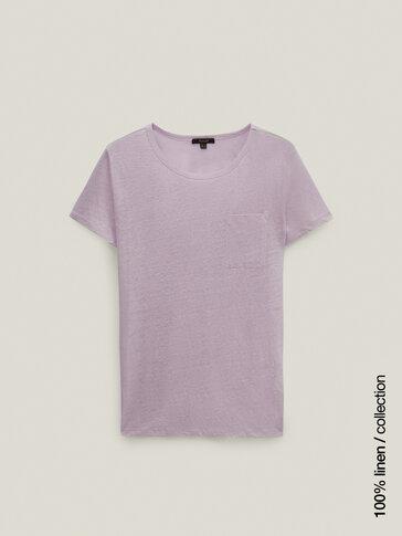Camiseta 100% lino con bolsillo