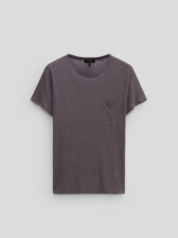 Linen and lyocell T-shirt with pocket