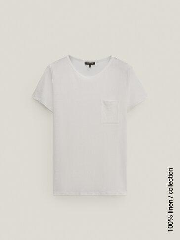 Shirt aus Reinem Leinen mit Tasche