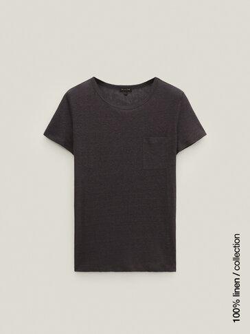 Camiseta detalle bolsillo 100% lino