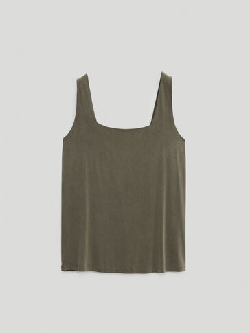 Cupro top with a square-cut neckline