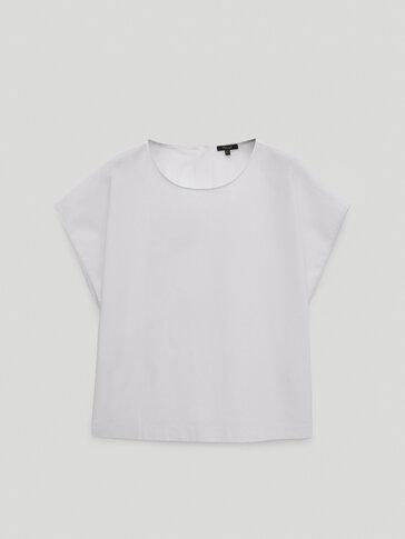 Round neck poplin T-shirt