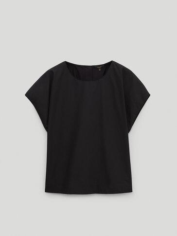 Camiseta popelín cuello caja