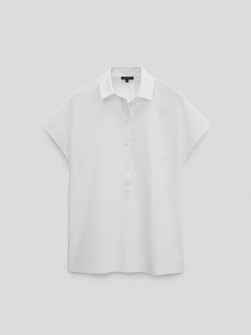 Short sleeve poplin polo