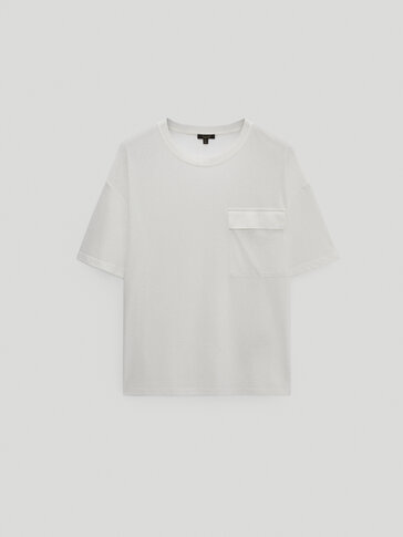 Cotton and lyocell T-shirt with pocket