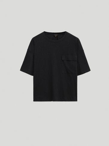 Camiseta lyocell algodón con bolsillo
