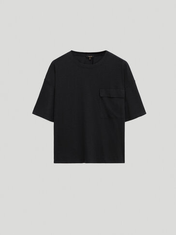 Lyocell cotton t-shirt with pocket