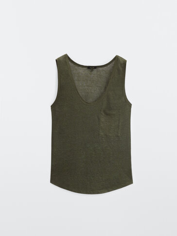 100% linen sleeveless top