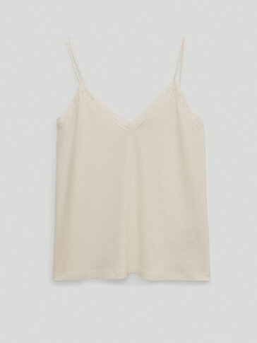 Linen/lyocell lace trim top