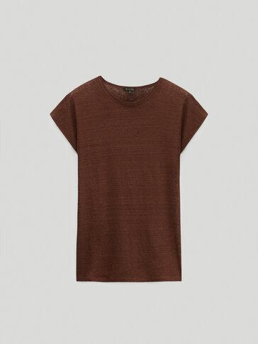 100% linen round neck T-shirt