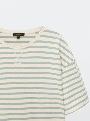 Cotton short sleeve striped T-shirt