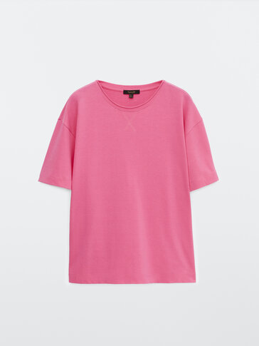 Curly collared cotton T-shirt