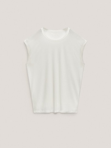 Sleeveless 100% lyocell T-shirt