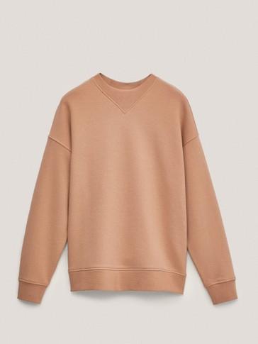 Sweatshirt i cotton med rund hals