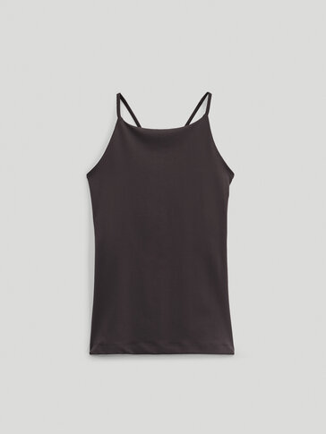 Top with crossed straps at the back