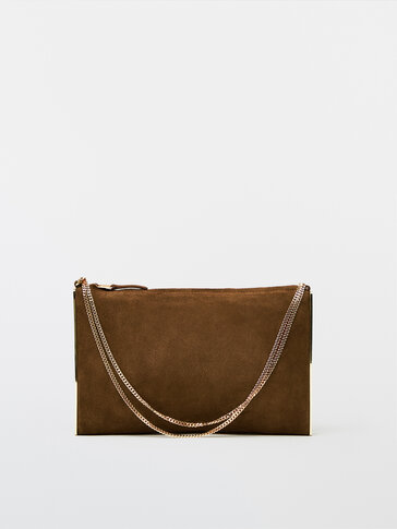 Split suede clutch bag