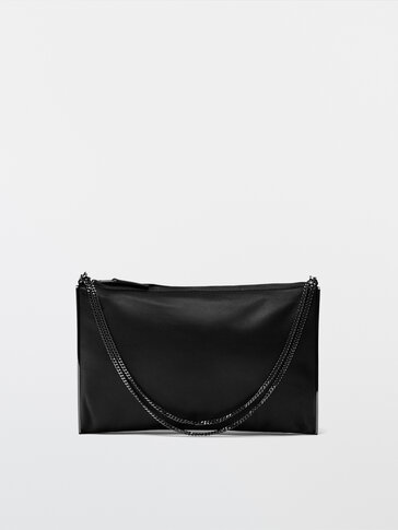 Nappa leather clutch bag
