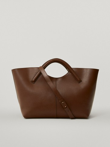 Split suede and nappa leather tote bag