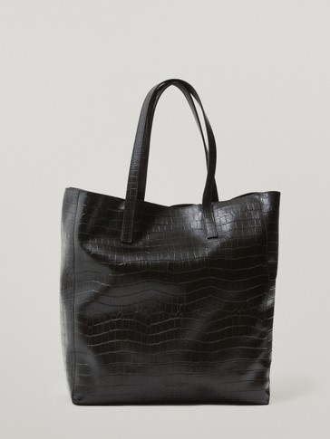 Leather mock-croc tote bag