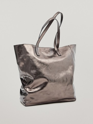 Shopper aus Nappaleder mit Metallic-Finish