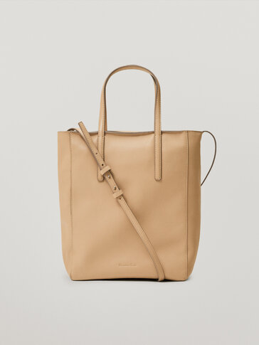 Leather tote bag with crossbody strap